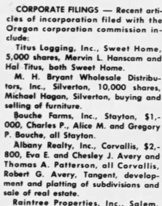 Avery, Robert G (corporate filing) Salem, OR, Statesman Journal, Mon 3 Apr 1972 p 10, para 5