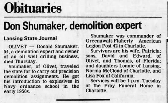 30 Aug 1986 Obit Don Shumaker