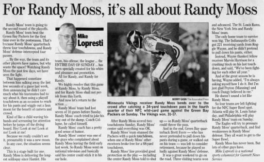 """It's all about Randy Moss"""