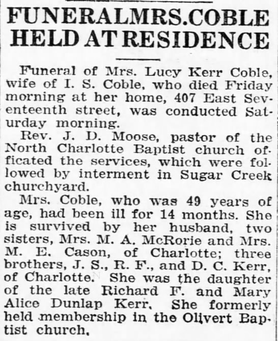 Obit for Lucy Kerr Coble