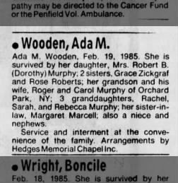Ada M Wooden obit 2/16/1985 Grandmother to Rebecca Murphy D&C Rochester NY 21 Feb 1985 pg 15