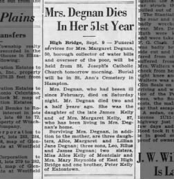 1930 - Margaret Kelly Degnan Obituary
