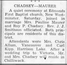 Chadsey-Maurer Marriage