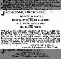 1884 Ad for Duffield Flats, 374 story brick homes