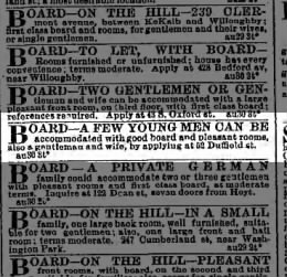 1872 Ad for room and board at 52 Duffield