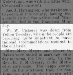 W.W. Pickerel reports from Felron