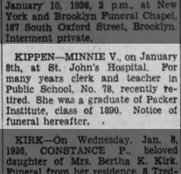 Death Notice of Minnie V. Kippen