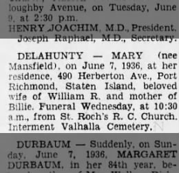 delahunty mary obit 1936 wife of william june 7