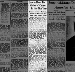 Jane Addams Death May 22nd, 1935