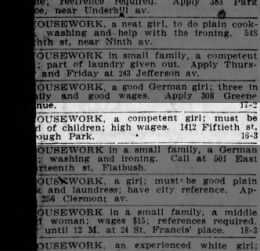 18 Jun 1908 ad for girl housekeeper for Hugh Park