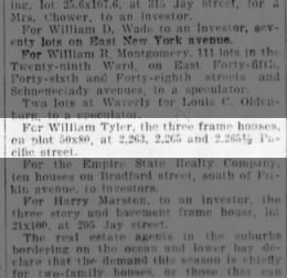 william tyler purches three wood frame homes pacific street brooklyn ny 2/27/1904