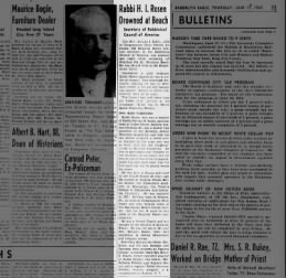 Rabbi Abraham Feldbin mentioned in obit for Rabbi H.I. Rosen 1943
