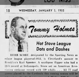 Herb Score minor league player-of-1954.