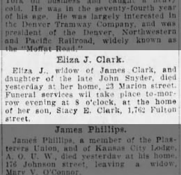 Eliza J. Clark, died 23 Marion Street 19 Mar 1911;  death notice Brooklyn Daily Eagle