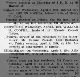 Samuel Cocroft has service for daughter Fannie Cooper late husband William H. who dies 4-6-1904