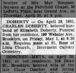 OBIT CHARLES DOHERTY_APR 1931
