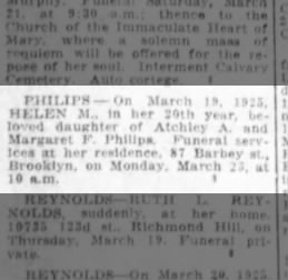 Helen May Philips Death March 19, 1925