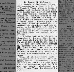 Joseph McJimsey article from 26 Dec 1918, Brooklyn Daily Eagle, New York