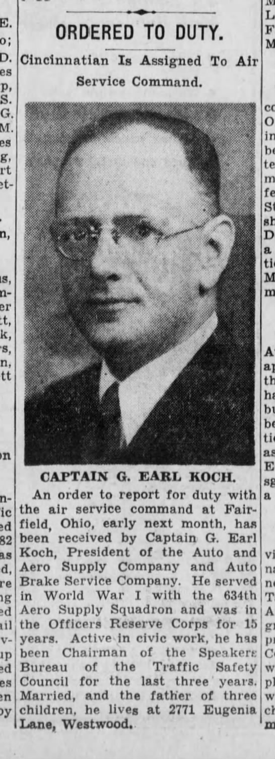 1942-05-20 Koch, G. Earl ordered to report to duty