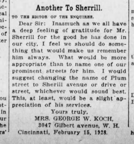 1928-02-17 Koch, Mrs. George proposes street name change to honor Mr. Sherrill