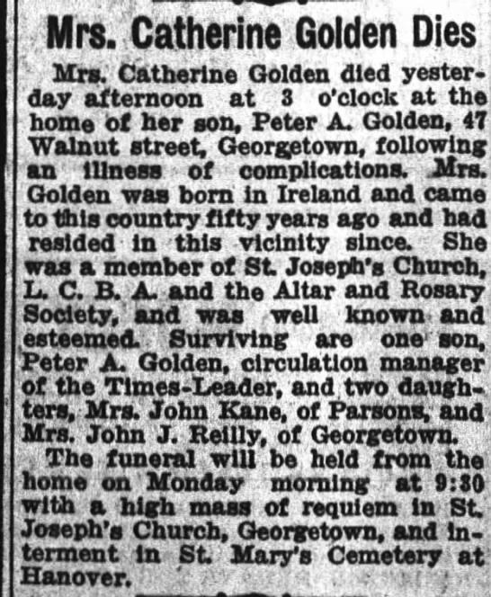 Catherine Golden Obituary 1927