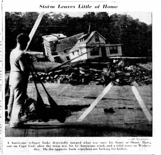 House on Cape Cod damaged by 1938 hurricane