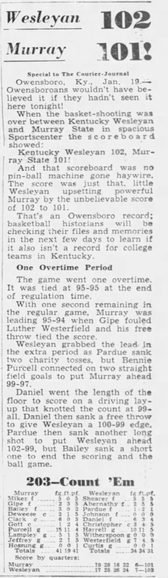 01-19-1952 Vs Kentucky Wesleyan (overtime) Bennie Purcell 41 points.