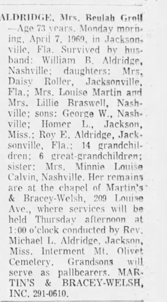 Death Notice for Beulah Groll Aldridge
