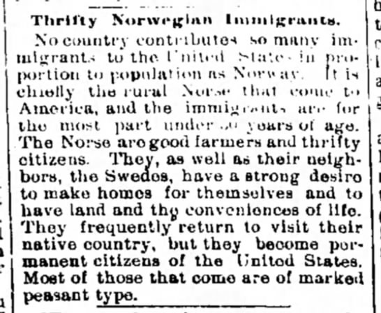 Norwegian Immigrants are Thrifty
