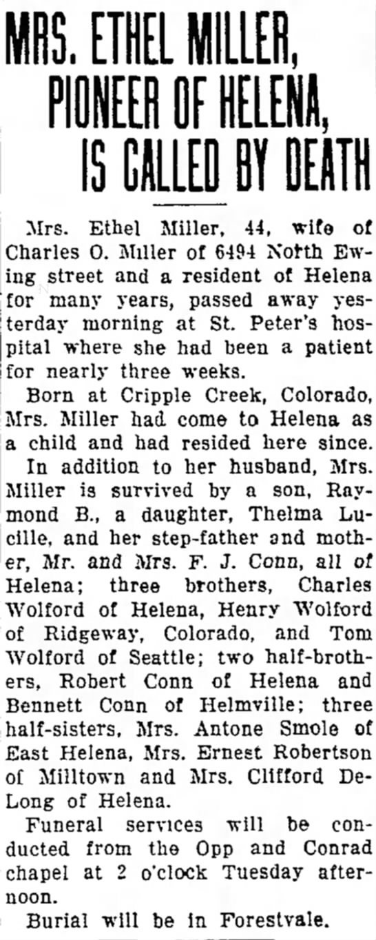 Ethel Wolford's Obit