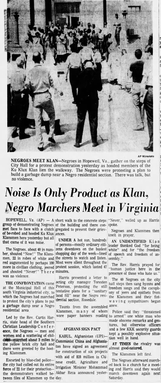 Noise is Only Product as Klan, Negro Marchers Meet in Virginia---Arizona Republic: August 7, 1966
