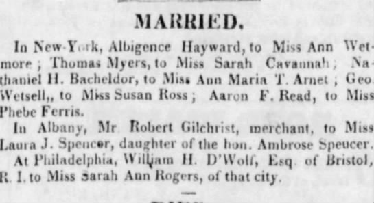Marriage Announcements - Long Island Star (Brooklyn, NY) 25 Dec. 1823 - Thursday