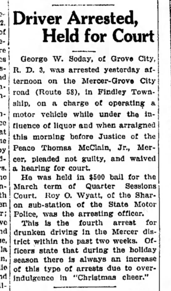 Driver Arrested George W Soday Dec 1940