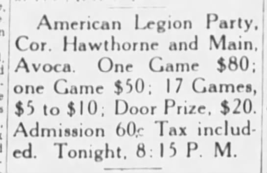 American Legion Party Avoca May 1944