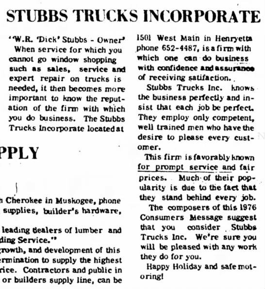Stubbs Trucks Incorporated
