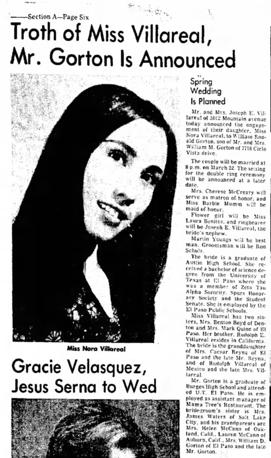 Nora's engagemen El Paso Herald-Post El Paso TX Saturday, Feb 8, 1975