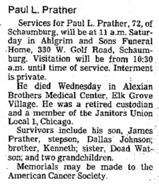 Obit - Paul L Prather