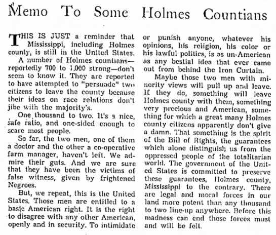 Column about two white men being run off from Holmes County.
