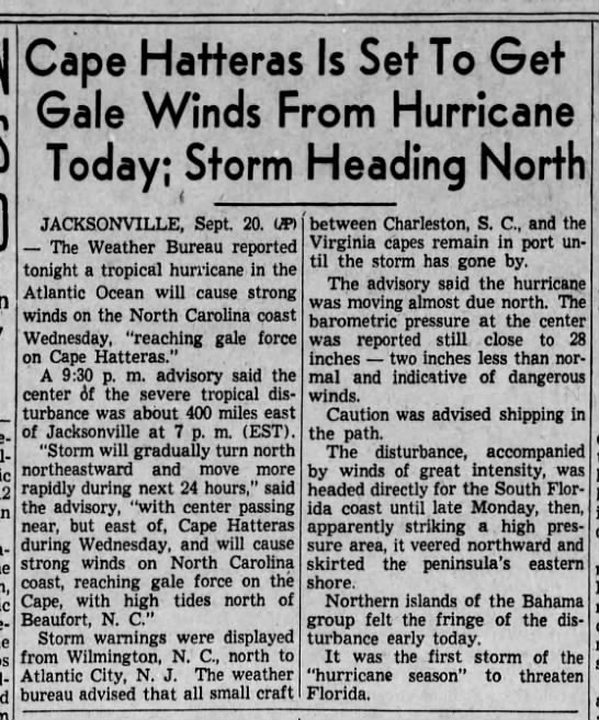 North Carolina to feel effects of passing hurricane, 1938