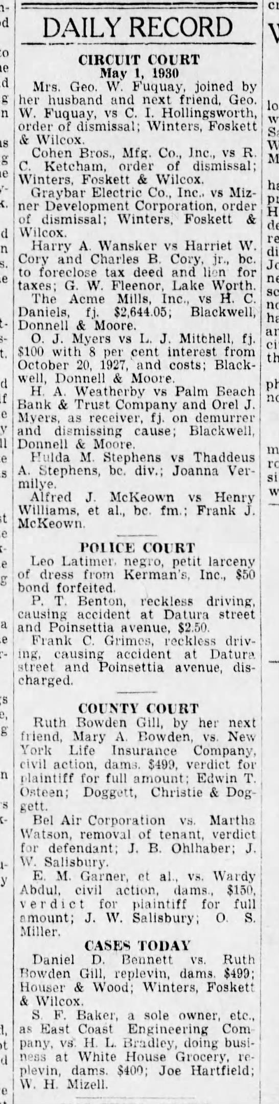 Court record, 1930