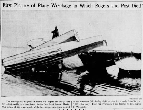 Plane wreck that killed Will Rogers and Wiley Post