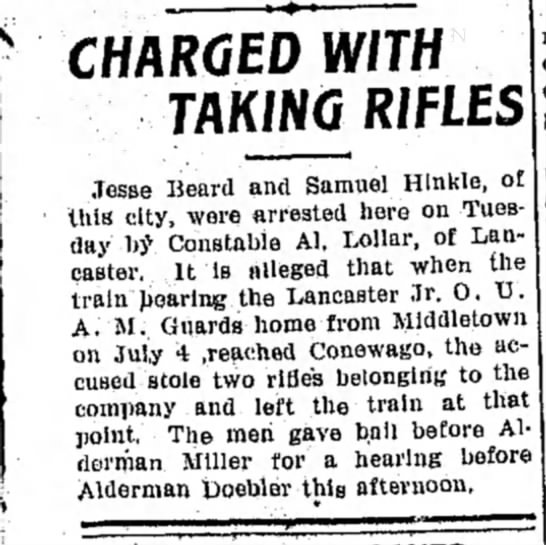 Jesse (Jessiah) Beard? - charged w/ taking rifles