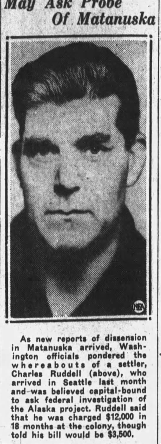 Charles Ruddell lvs  Colony 9Mar 1937 Owes $12,000