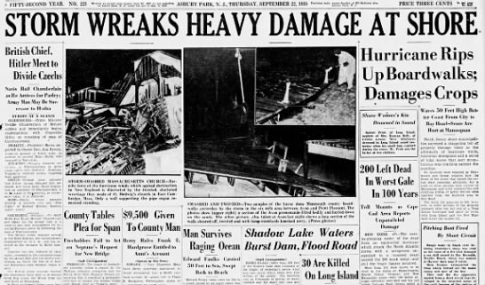 New Jersey hurricane headlines, 1938