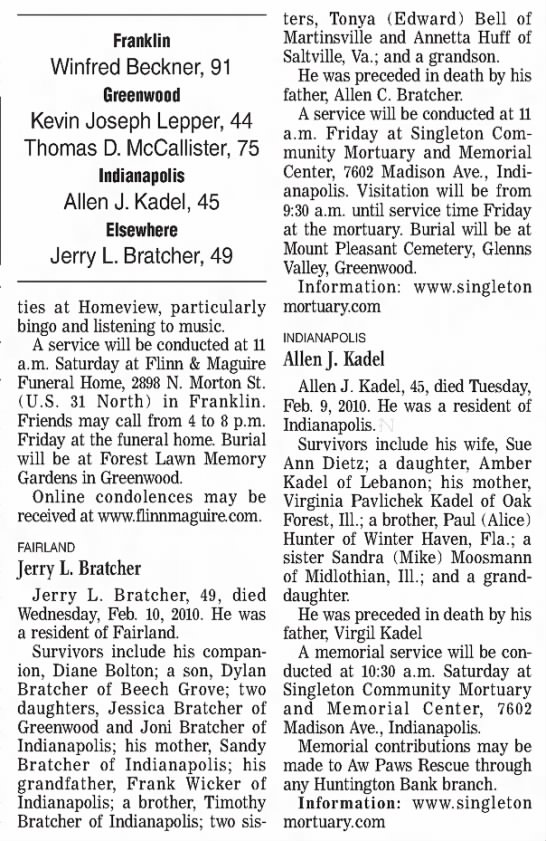 Jerry L Bratcher obituary-2010