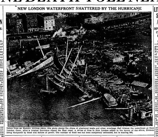 Damage to waterfront in Connecticut from 1938 hurricane