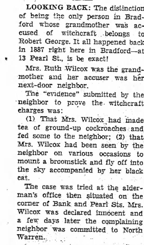 Bradford Era 10/13/1950 Ruth Wilcox witchcraft