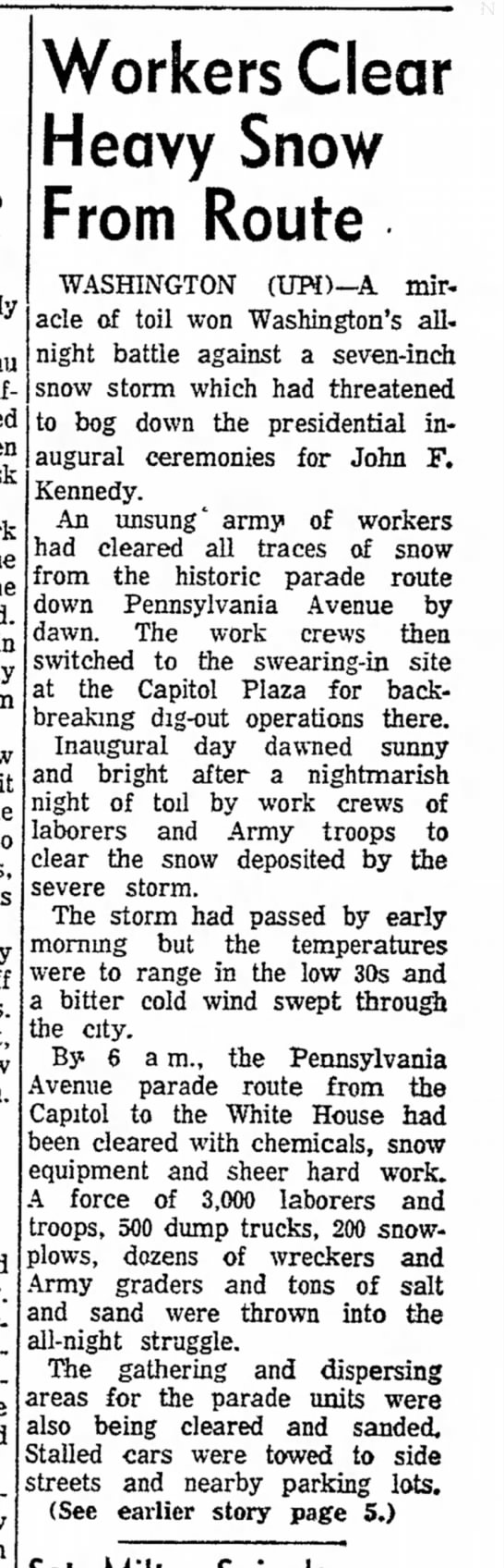 Workers clear heavy snow for Kennedy inauguration, 1961