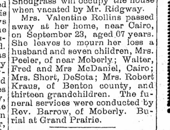Lura Boucher Rollins - Moberly Democrat - 29 Sep 1901 p6