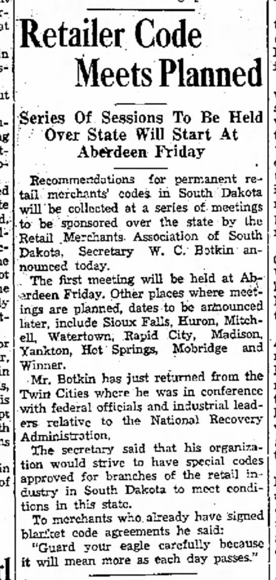 WC Botkin - Daily Plainsman Huron SD 8 Aug 1933 p8